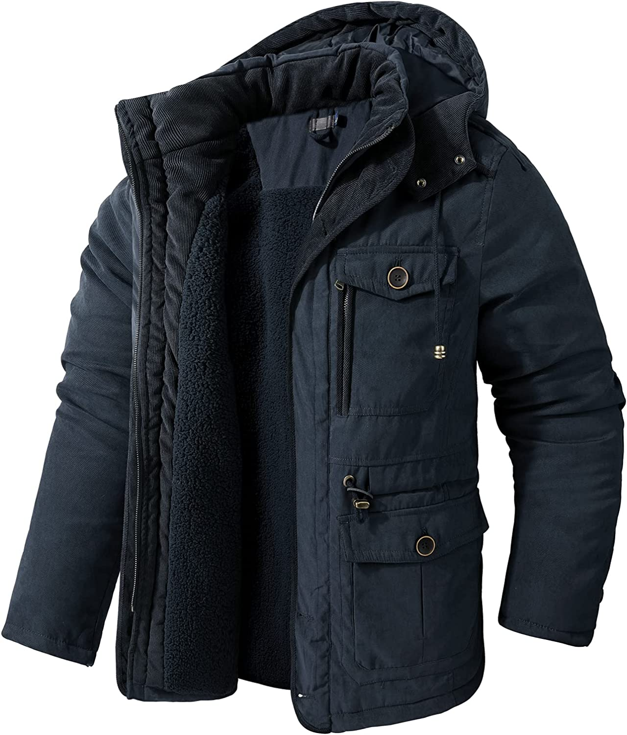 Flygo Mens Thickened Sherpa Lined Quilted Parka Coat Casual Winter Jacket with Removable Hood