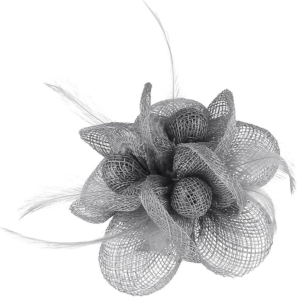 GEMVIE Women Feather Flower Fascinator Hair Clip Kentucky Headband