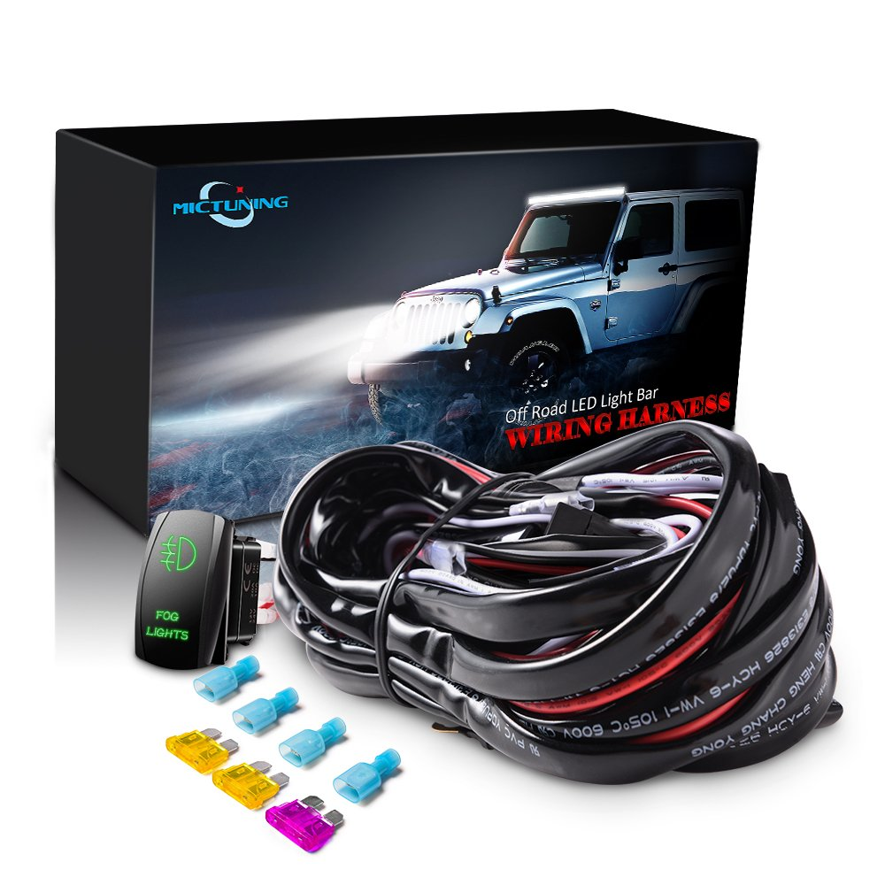 jeep plug and play fog light wiring kit amazon commictuning led light bar wiring harness 40amp relay laser green on off rocker switch (