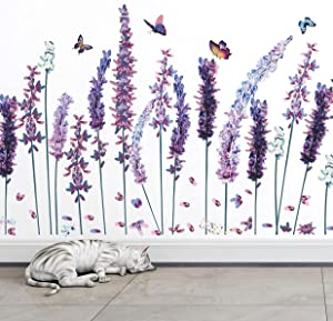 RW-1028 3D Flowers Wall Decals Purple Lavender Wall Stickers Flower Plant Butterfly Decoration DIY Removable Garden Lavender Floral Wall Art Decor for Kids Girls Bedroom Living Room Nursery Office
