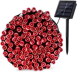 Joomer Solar Christmas Lights, 72ft 200 LED 8 Modes Solar String Lights, Waterproof Solar Fairy Lights for Garden, Patio, Home, Wedding, Party, Christmas Decorations (Red)