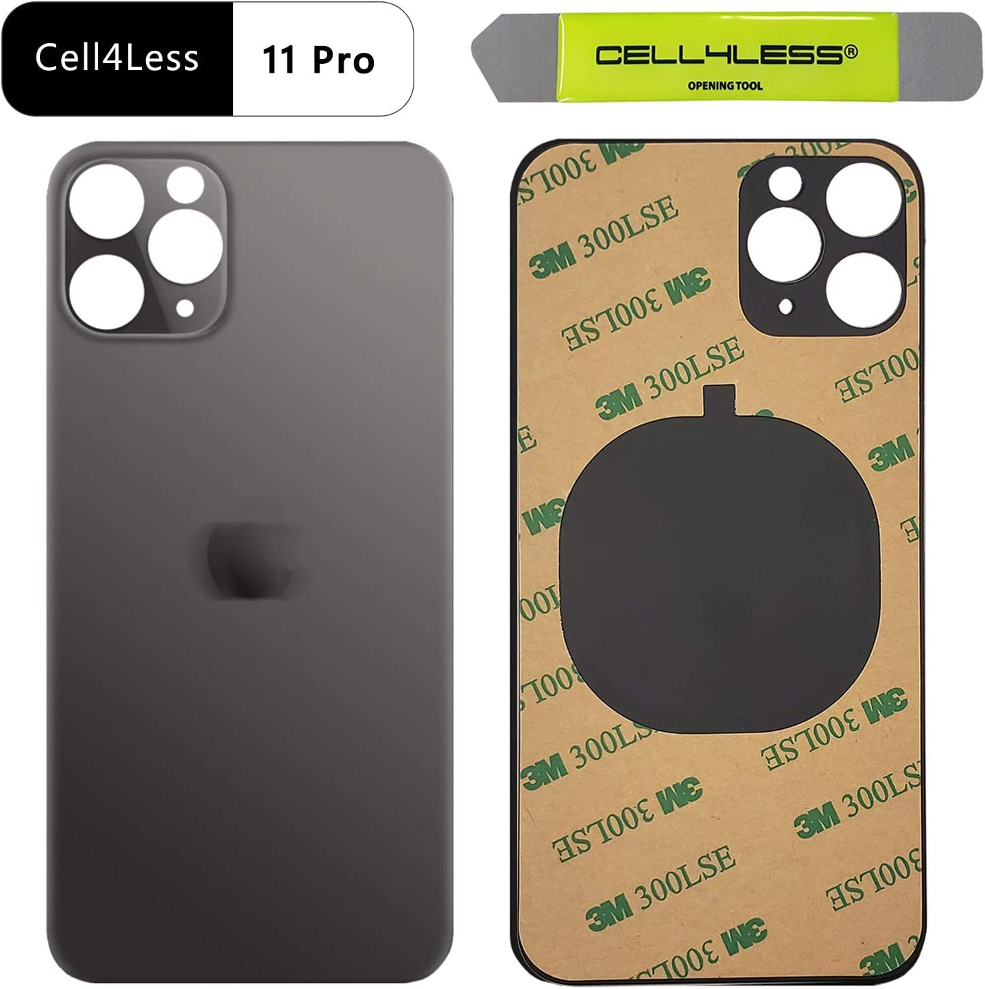 Cell4less Back Glass Compatible with The iPhone 11 Pro W//Full Body Adhesive Gold and Wide Camera Hole for Quicker Installation Removal Tool
