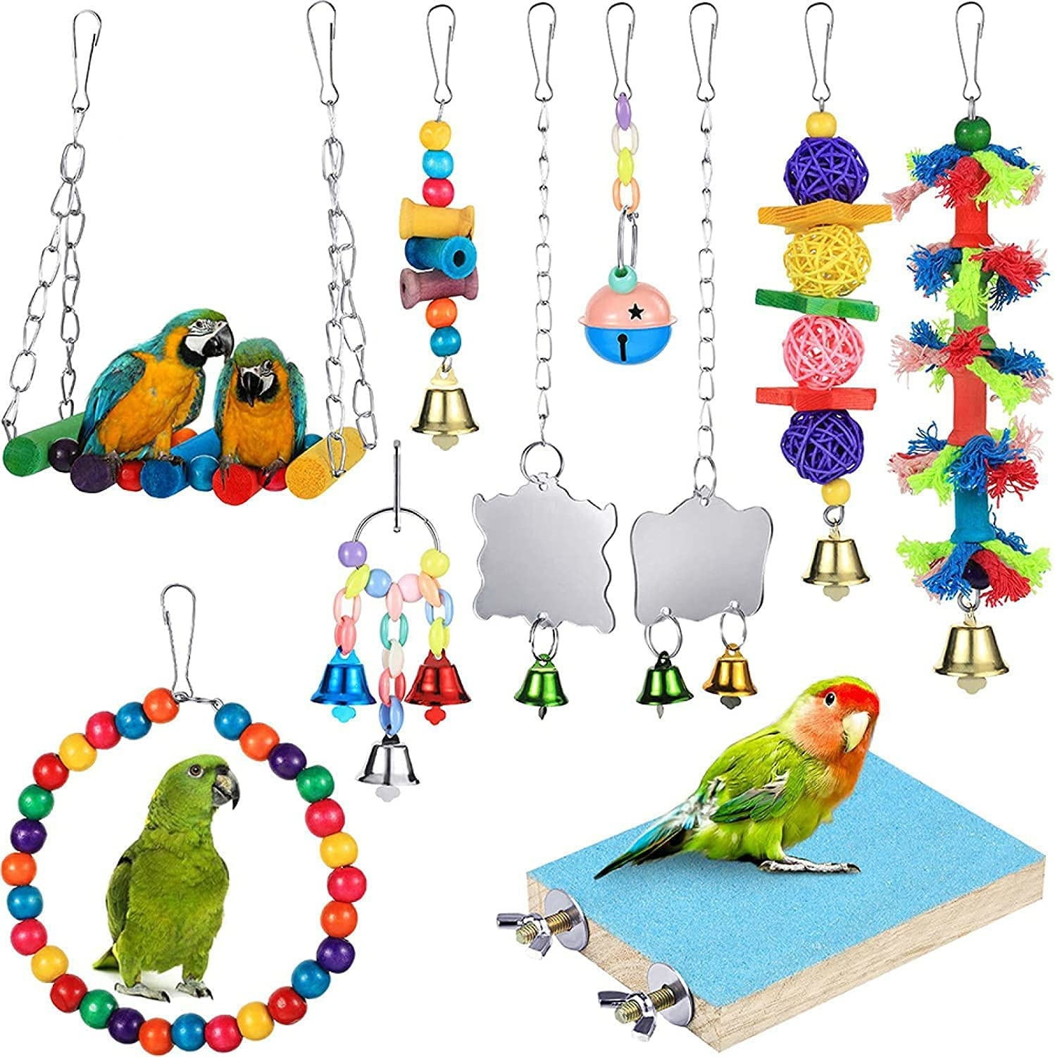 TIANLE 10 PCS Set of Bird Spring new work one after another Chewing Toy Hangin Parrot New sales
