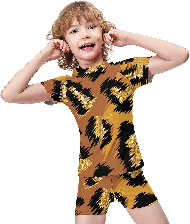 Yiaoflying Kids Boys 2 Piece Swim Set - Glitter Leopard Print Rashguard Swimsuit Trunks