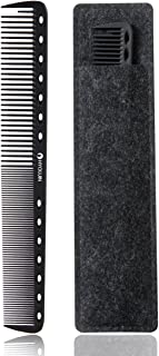 HYOUJIN 605 Black Carbon Fine Cutting Comb,100% Anti static 230℃ Heat Resistant,Hairdressing Comb,Master Barber Comb with fine tooth-14 holes for cutting and hair styling