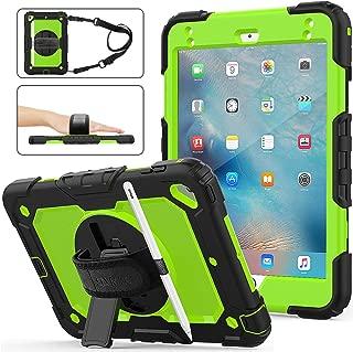 iPad Mini 5 Case,iPad Mini 4 Case, SEYMAC Stock [Full-body] Drop Proof &Shockproof Hybrid Armor Case with 360 Rotating Stand [Pencil Holder] Screen Protector Hand Strap for iPad Mini 4/5 (Green+Black)