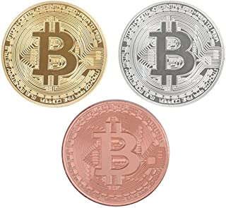Bitcoin Coins, Gold, Silver, and Bronze Physical Blockchain Cryptocurrency in Protective Collectable Gift Case (Set of 3)