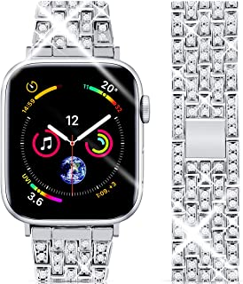 Goton Jewelry Band Compatible with Apple Watch Band 44mm 42mm, Women Luxury Diamond Bling Crystal Stainless Steel Metal Replacement Strap for iWatch Band Series 4 3 2 1 (Silver - 44/42mm)