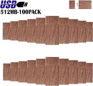 Wood USB Flash Drives 512MB, EASTBULL Bulk Flash Drives Walnut Wooden Thumb Drives Pack High Speed 2.0 for Date Storage (Dark Brown-100 Pack)