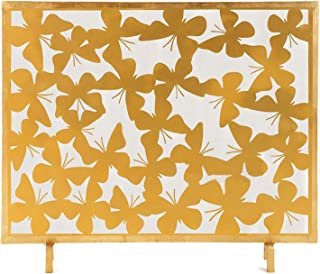 Fireplace Screens Elegant Golden Metal Fireplace Screen with Hollow Wrought Iron Butterfly Carving Single Panel Fireplace ...