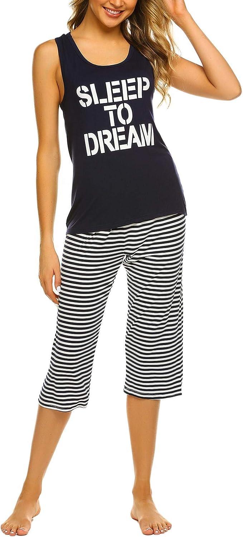 Ekouaer Women's Pajamas Set Soft Striped Sleepwear Tank Top and Capri Pj Lounge Sets