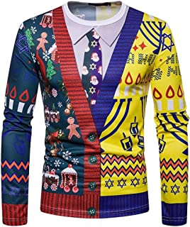 Christmas Party patchworksweater Men's Pattern Youth Leisure Long Sleeve T-Shirt