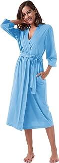 SIORO Women's Kimono Robes Cotton Lightweight Robe Long Knit Bathrobe Soft Sleepwear V-Neck Ladies Nightwear