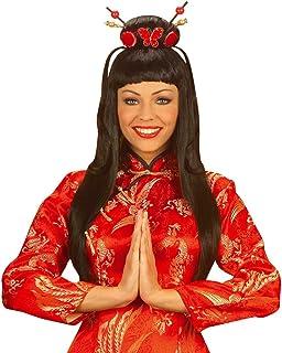WDMG6019 WIDMANN-WDMG6019 Parrucca Geisha con Fiore Colore Nero Taglia Unica