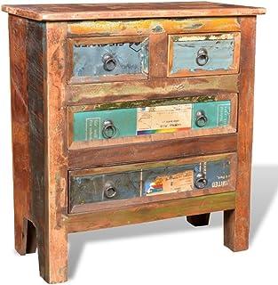FZYHFA Armoire avec 4 tiroirs en Bois Massif de Récupération 65 x 30 x 70cm (L x l x H)