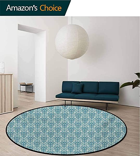 RUGSMAT Modern Machine Round Bath Mat Circular Ornaments With Squares And Lines Monochrome Abstract Pattern Non Slip No Shedding Kitchen Soft Floor Mat Round 51 Inch Black White