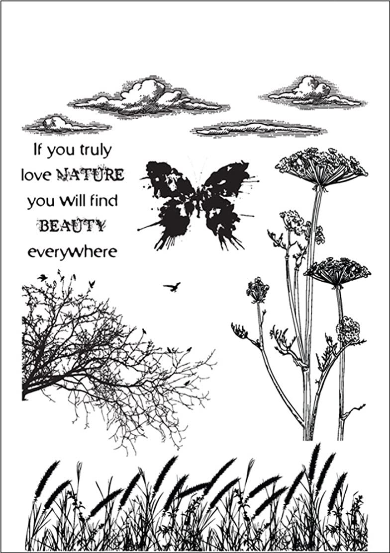 IndigoBlu NAIMTD Cling Mounted Stamp, 9.25 by 6.25-Inch, Nature 1