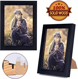 ZONLESON 8X10 Picture Frames (2 Pack, Black) Simple Designed Photo Frame Made of Solid Wood High Definition Glass for Table Top Display and Wall Mounting, Set of 2 Classic Collection