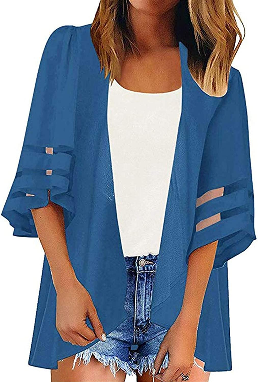 Mesh Panel 3/4 Bell Sleeve Cardigan Women Pure Color Chiffon Casual Loose Kimono