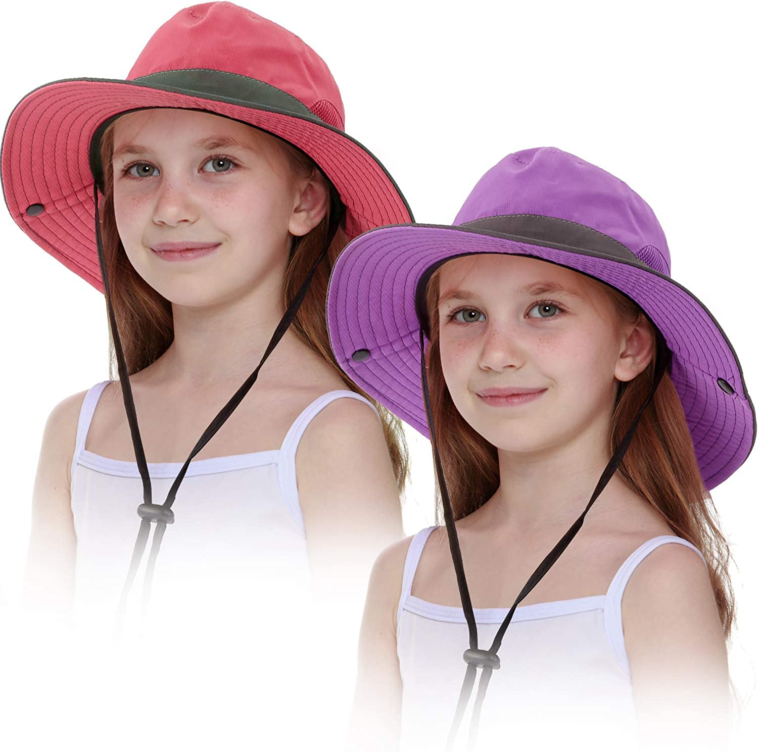 2 Pieces Year-end gift shop Kids Sun Hat Wide Brim UV w Protection Cap Foldable