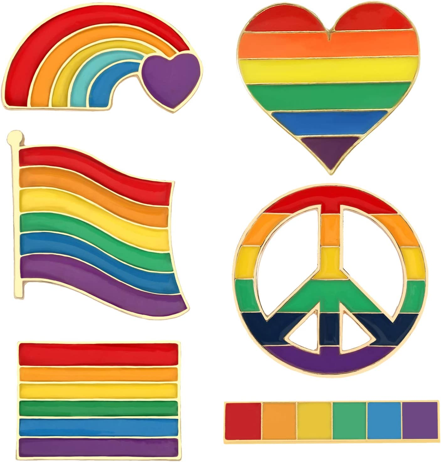 Tinsow Pride Gay Rainbow Flag Lapel Pins Enamel LGBT Lapel Pins Rainbow Brooch Decoration for Clothes and Bags (6)
