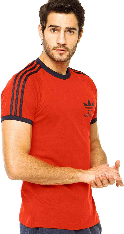 adidas Originals T Shirt California Tee Sport Essential 3 Stripe Trefoil Tee Black Red White S-XL New (Red, Medium)