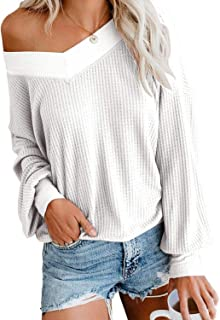 BOOSOULY Womens V-Neck Sweater Shirts Waffle Knit One Shoulder Long Sleeve Tunic Tops