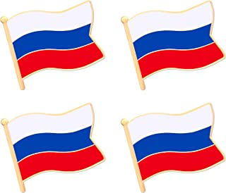 ALEY Russia Russian Flag Lapel Pin Decorations (4 Pack)