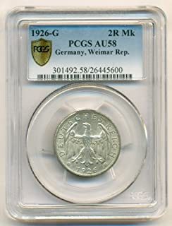 1926 DE Germany - Weimar Republic Silver 2 Reichsmark AU58 PCGS Secure