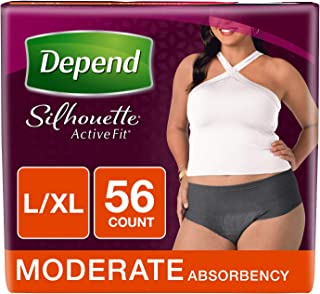 Depend Silhouette Active Fit Incontinence Underwear for Women, Moderate Absorbency, L/XL, Black, 56 Count