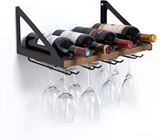 MK478A - Wall Mount Wine Rack with Glass Holder (Wood)