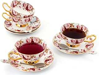 Porcelain Tea Cup and Saucer Set Coffee Cup with Saucer and Spoon 8 oz Set of 4 (Rose & Strawberry)