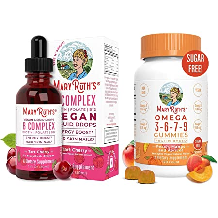 Liquid Vitamin B Complex & Omega Gummies Bundle by MaryRuth's   B Complex Liquid (Tart Cherry), 1oz   Omega 3-6-7-9 Gummies for Kids & Adults, 120ct   Vegan, Non-GMO