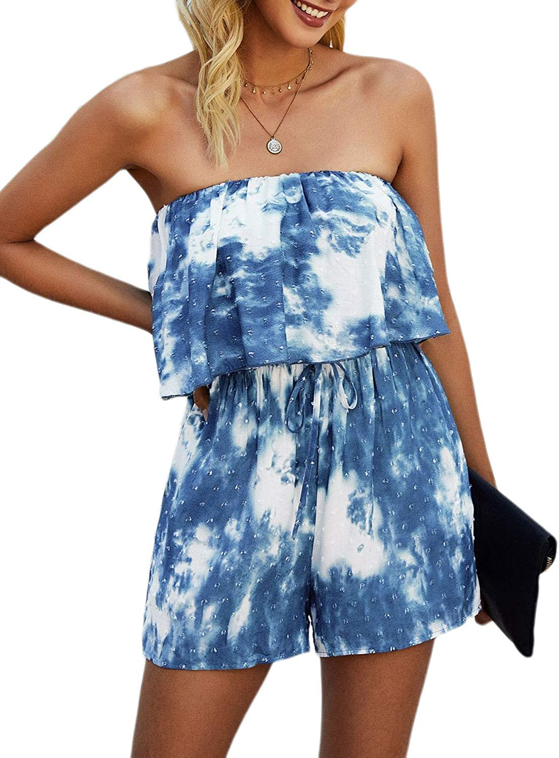 Miessial Women's Casual Tie Classic Dye Spring new work one after another Shoulder Rompers Off Summe Print