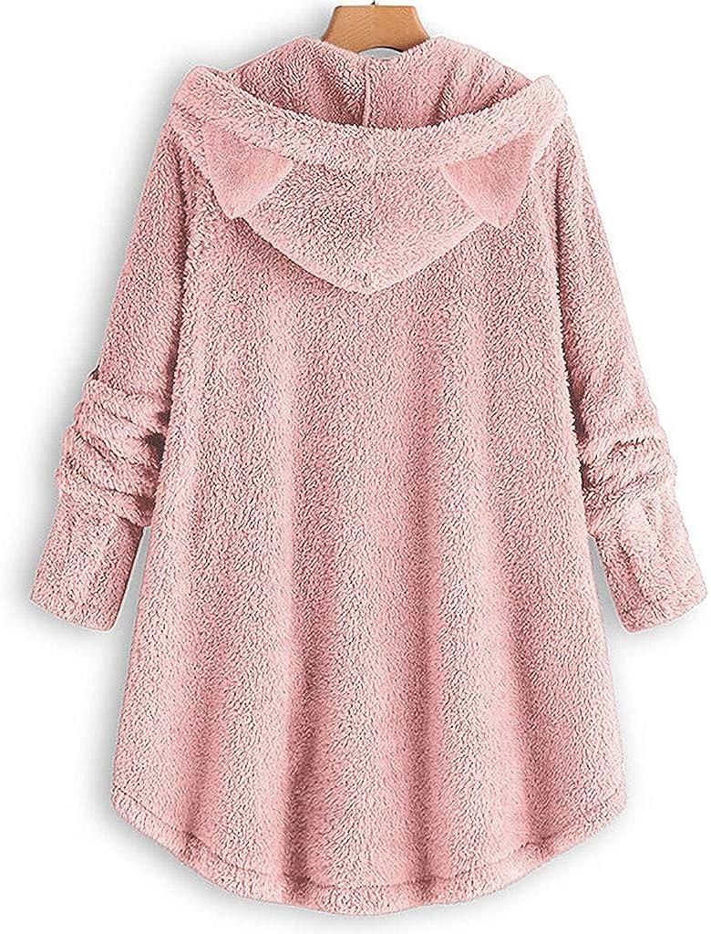 ITISME Teddy Hoodie Damen Plüschmantel mit Taschen Solide Sweatershirt Pullover Outwear Damen Warm Fleecejacke Winter Mantel mit Großem Kragen B-rosa