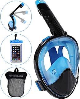 HELLOYEE Full Face Snorkel Mask for Adults Kids Panoramic View Snorkeling Mask Free Breathing Anti-Fog Anti-Leak Design with Detachable Camera Mount