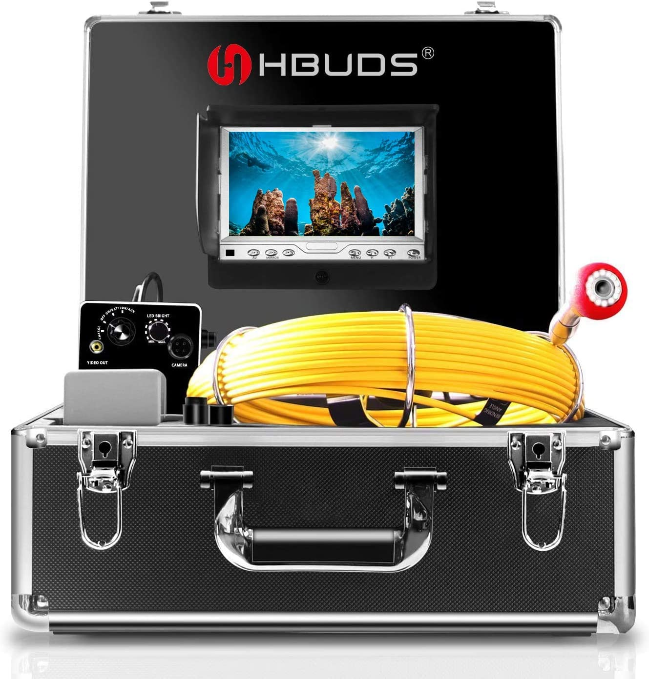 Pipe Inspection Camera,HBUDS Pipeline Drain Industrial Endoscope,30M/100ft IP68 Waterproof Snake Video System with 7 Inch LCD Monitor 1000TVL Sony CCD DVR Recorder Sewer Camera(Free 8GB SD Card)