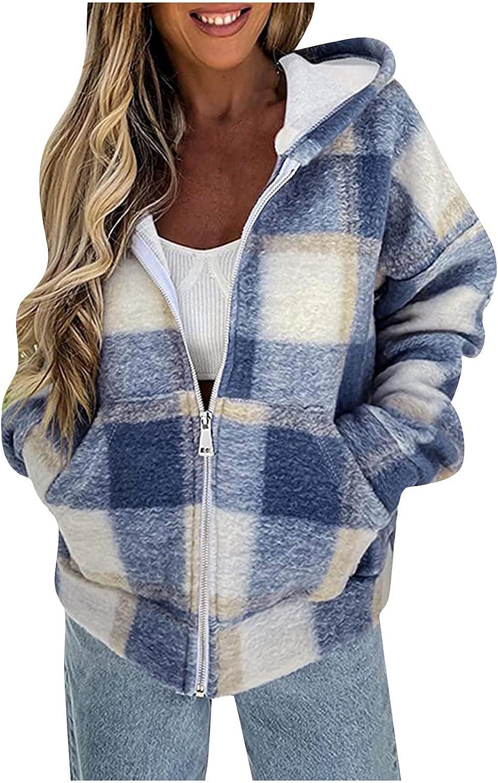 Kanzd Zip Up Hoodies for Women Trendy Women's Casual Lattice Printing Hooded Long Sleeve Cardigan Coat Tops Pocket Blouse