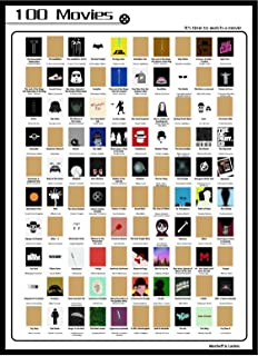 Movie Scratch Off Poster | Bucket List of Top 100 Classic Movies of All Time | Perfect for Movie Lovers, Cinema Fans, and Film Critics | Easy Coin Scratching | Modern Design to Match Any Interior Home