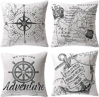 Gspirit 4 Pack Oceano Serie Brújula Mapa Ancla Navegación Algodón Lino Throw Pillow Case Funda de Almohada para Cojín 45x4...
