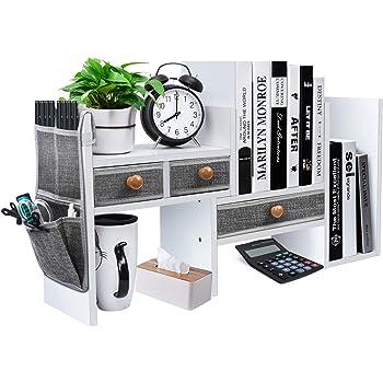 X-cosrack Wood Expandable Desktop Bookshelf Counter Bookcase Adjustable with Drawers Desktop Shelves Rack Storage Organizer for Office Supplies,Makeup,White.Petent Pending
