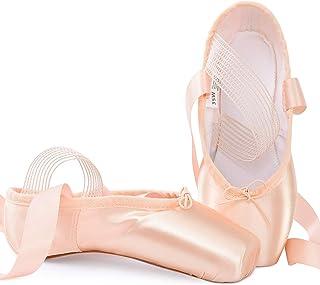 Soudittur Chausson de Danse Classique Pointe Chaussures de Ballet Satin Rose avec Élastique Bande et Protège-Orteils pour ...
