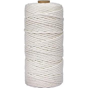 Cuerda de Macramé 3 mm x 100 m Cuerda Cordel de Algodón para Envolver Regalo Navidad Colgar Fotos Manualidades Costura DIY Artesanía: Amazon.es: Hogar