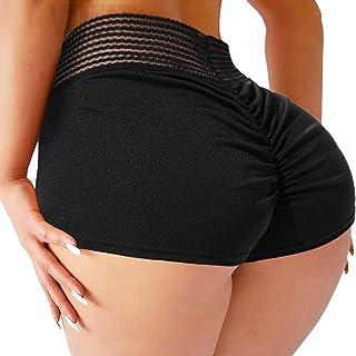YOFIT Womens Sexy Ruched Butt Lifting Gym Shorts High Waisted Booty Yoga Shorts Workout Running Twerking Daisy Dukes Shorts