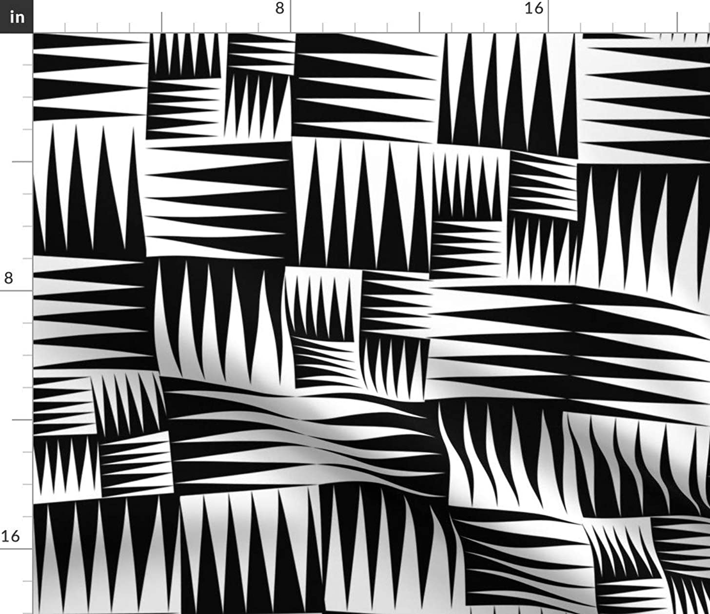 black and white zig zag Fabric - Zig Zag Modern Home Decor Zig Zag Tribal Squares Graphic Black And White Quilting Geometric by Vo Aka Virginiao Printed on Petal Signature Cotton Fabric by the Yard