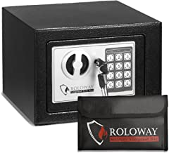 ROLOWAY Steel Small Money Safe Box for Home with Fireproof Money Bag for Cash Safe Hidden, Security Safe Box for Money Jew...