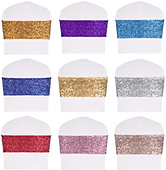 Desirable Life Pack of 50 Stretch Sequin Chair Sashes Chair Bands One-Sided Sequins Decor for Hotel Wedding Reception...
