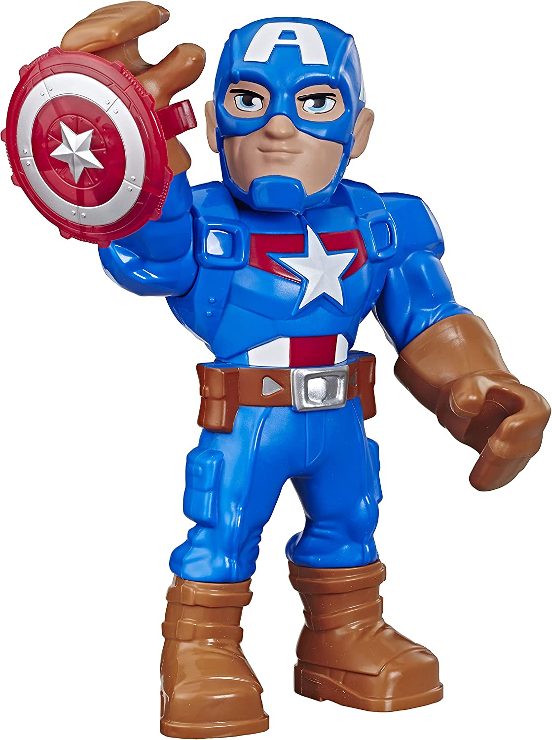 Playskool Heroes Mega Mighties Marvel Super Hero Adventures Captain America, Collectible 10-Inch Action Figure, Toys for Kids Ages 3 and Up