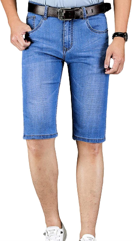 Mens Regular Fit Straight Denim Shorts Blue Jeans Mid-Waist Stretch Slim Simple