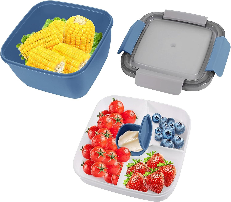 Bento Box Hermetico, Caja Bento con Cubiertos, Fiambrera Infantil, Lunch Bento Box con 3 Compartimentos y Cubiertos, Caja Bento a Prueba de Fugas para Niños Adultos, 1500 ML